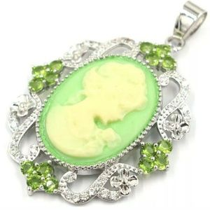Beautiful silver filled green cameo pendant